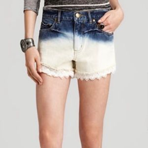 Free People Bleached Cut Off Lace Denim Shorts Dye